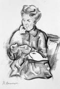 Артистка Л. Державина (за вязанием)