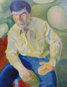 Мужской портрет на зеленом фоне
