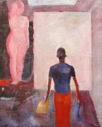 Художник и розовая модель