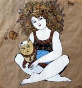 Девочка с котиком (триптих