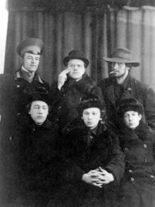 Николай и Давид Бурлюки, Владимир Маяковский, Велимир Хлебников, Георгий Кузьмин, Сергей Долинский