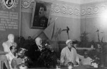 Празднование 75-летия В.П. Филатова в актовом зале института, 1950 г.
