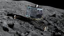 Зонд Philae на поверхности кометы в представлении художника. Иллюстрация MEDIALIAB/ESA
