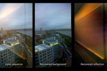 Слева — необработанная картинка, справа — извлеченное из картинки отражение, по центру — результат после удаления отражения