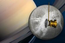 Пролет Cassini вблизи Дионы (в представлении художника)  Изображение: NASA