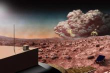 Буря на Марсе (в представлении художника). Изображение: NASA