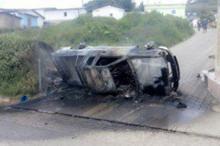 Сгоревший автомобиль Басилио Хуракана. Кадр: www.guatevision.com