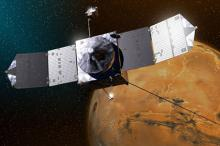 Зонд MAVEN на фоне планеты Марс в представлении художника. Изображение: GSFC / NASA