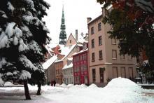 Рига в снегу. Фото с сайта vk.com.