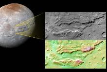 Фрагмент каньона Серенити Часма. Изображение: NASA / JHUAPL / SwRI