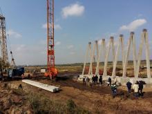 Строительство дороги Одесса - Рени (архив). Фото: страница М. Саакашвили в «Фейсбуке»