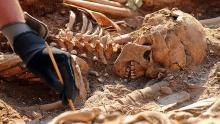 Упавшая верхняя часть скелета юноши, похороненного вертикально. Фото: International Business Times