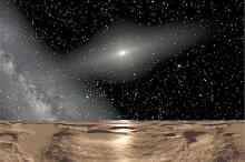 Вид с поверхности Седны (в представлении художника). Фото: NASA / ESA / Adolf Schaller