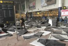 После взрывов в зале вылета брюссельского аэропорта. Фото: @wardmarkey