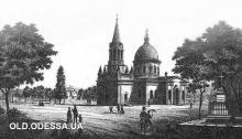 Церковь Всех святых на Первом христианском кладбище. Литография, вторая половина XIX века