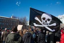 Флаг пиратской партии в Рейкьявике. Фото Getty Images