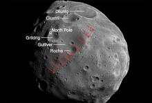 Аномальные каналы на поверхности Фобоса. Фото: ESA / Mars Express, modified by Nayak & Asphaug