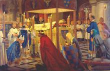 Картина с изображением погребения короля Генриха I. Музей Credit Reading
