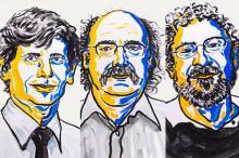 Дэвид Таулесс, Дункан Халдейн и Джон Костерлиц. Изображение: Nobel Media