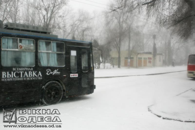 Трамваи итроллейбусы вОдессе изменили схему движения из-за снегопада