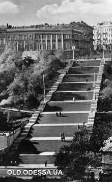 Потемкинская лестница. Одесса. Почтовая открытка. Фотограф Михаил Рыбак. 1963 г.