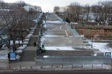 Потемкинская лестница (идут ремонтные работы), январь 2017 г. Фото Олега Владимирского