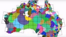 Кадр из компьютерной симуляции, показавшей сценарий развития языкового разнообразия в Австралии на основе климата и демографии. Изображение: Biocultural Diversity & Conservation Research Group at CSU