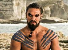 Джейсон Момоа в роли кхала Дрого в сериале «Игра престолов»