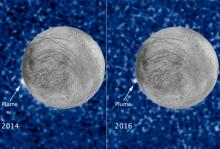 Криовулканизм на Европе. Фото: NASA / ESA / W. Sparks (STScI) / USGS Astrogeology Science Center