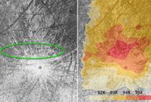 Аномально теплая область на поверхности Европы. Фото: NASA / ESA / W. Sparks (STScI) / USGS Astrogeology Science Center