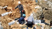 Раскопки обрушившейся пещеры Ширахо-Саонетабару на острове Ишигаки (Япония). Фото: KYODO