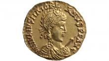 Монета из Линдена: золотой солид с изображением императора Майориана, V век нашей эры