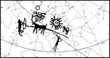 Рисунок с камня, наложенный на схему звездного неба. Иллюстрация из публикации Джоглекара, Вахии и Суле
