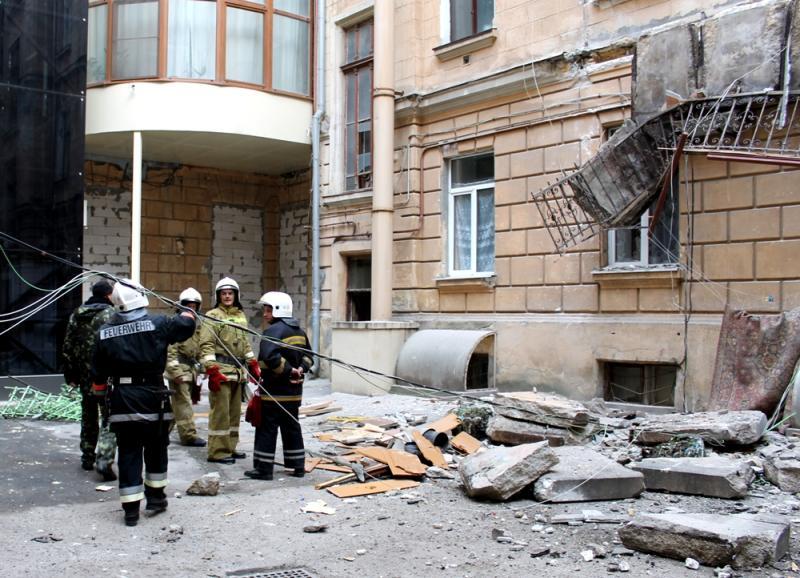 Два балкона обрушились создания вцентре Одессы