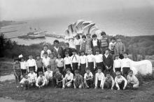 Вид на Отраду и учебное судно «Экватор» с территории пионерлагеря им. Яши Гордиенко, 1980 г.