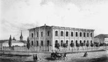 Еврейская угол Ришельевской, Главная синагога, гравюра, 1850-е годы