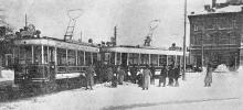 Столкновение вагонов на Куликовом поле возле Павловского здания дешевых квартир, фотограф П.Н. Вышинский