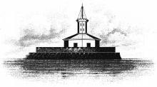 Вид первого маяка на Карантинном молу, «Одесской башни», при входе на Одесский рейд, рисунок