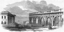 Одесса. Галерея возле Биржи. Гравюра 1854 г.