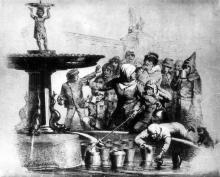 Соборная площадь, открытие первого одесского фонтана. 1873 г.