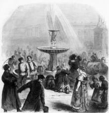 Открытие нового водопровода. фонтан на Соборной площади, рис. Г. Бролинга, 1873 г.
