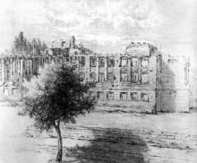Здание средней школы на ул. Канатной, разрушена оккупантами в апреле 1944 г., рисунок из  «Альбома художественных зарисовок разрушений»