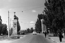 Николаевская (с 1996 г. Южная) дорога, направо уходит проспект Добровольского, 1969 г.