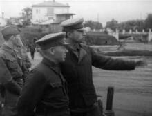 Строительство причалов в Аркадии, август 1941 г.