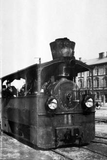 Паровоз на конечной станции «Куликово поле», фотограф С.И. Исакович, 1903 г.