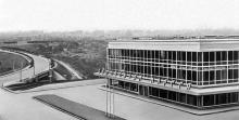 Здание автовокзала, архитекторы А.М. Милецкий, И.Н. Мельник, Э А. Бильский, фото из Большой советской энциклопедии
