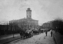 Одесса, ул. Новосельского, пожарные перед частью, 1904 г.
