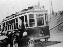 Одесса. трамвай на Балковской у пересыпского моста, 1943 г.