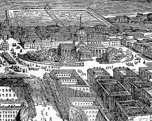 Одесса, схематическая панорама Соборной площади, гравюра, начало XIX века