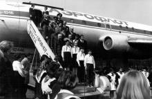 Одесса, парк Ленинского комсомола, открытие кафе в самолете, начало 1980-х годов
